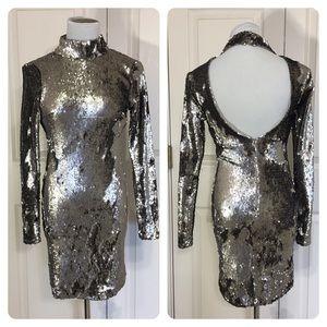 ASOS sequin high neck dress.